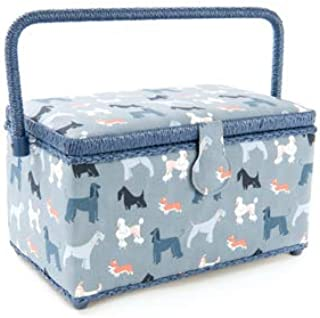 Dritz St Jane Sewing Basket Medium Rectangle Sewing Box 11x6x6 Inches (Blue Gray with Dogs)
