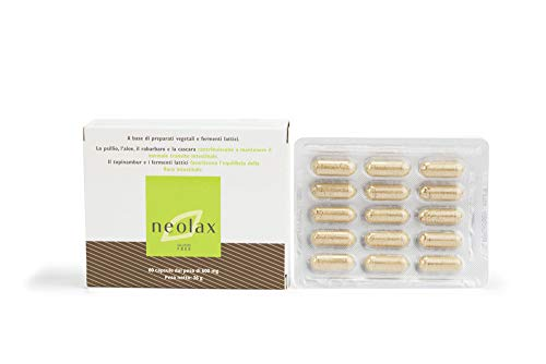 Neolax OTI - Integratore Alimentare Naturale a Base di Psillio e Fermenti Lattici Probiotici - con Topinambur e Succo di Aloe - Confezione da 60 Capsule da 600 mg - Made in Italy