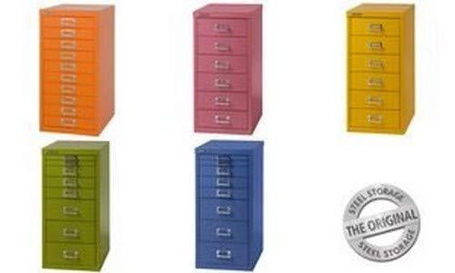 Bisley MultiDrawer, série 29, Format A4, 10 tiroirs, métal, 604 Vert, 38 x 27.9 x 59 cm