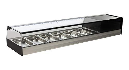 Vetrina refrigerata da banco - Gruppo incorporato - Vetro retto con Illuminazione LED - 6 vassoi GN 1/3 h40 - Colore Grigio Argento - Vetrina frigo da bar tapas professionale - 1566 x 410 x 250 mm