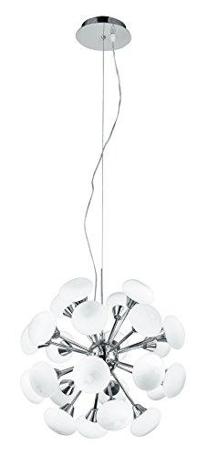 Fan Europe I-JUPITER/S24 Lampadario Sospeso a Led con Luci Sferiche, Vetro/Alluminio, 2.5 watts, Bianco, vetro;alluminio