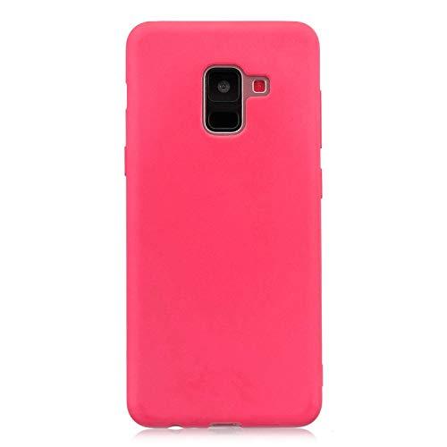 cuzz Custodia Samsung Galaxy A6 2018+{Film di Vetro temperato}Silicone TPU Cover Morbida Protettiva Custodia Ultra Sottile Leggero Cover-Rosso