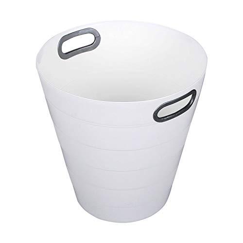 Milanino Classic Papierkorb – Einfarbiger Kunststoff Abfalleimer für Büro, Badezimmer, Wohnzimmer und Mehr - 12,5L Fassungsvermögen (Weiß)