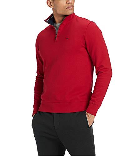 Tommy Hilfiger Men's Quarter-Zip Sweater (Bold Red, XX-Large)