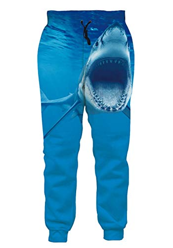 AEOPES Unisex 3D Graphic Joggers Pants Funny Casual Sports Sweatpants for Men Women Shark XXL