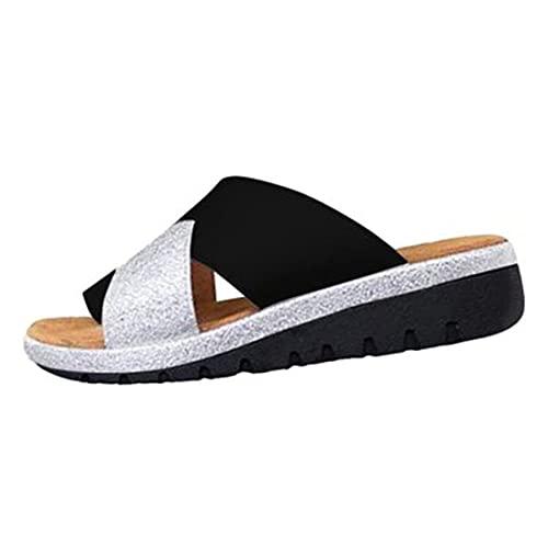 WECDS 2021 Nuevas señoras Casuales Sandalias de corrección de Dedo Gordo Zapatos Artificiales para Mujer Zapatillas ortopédicas Corrector de juanetes cómodas Chanclas de Plataforma