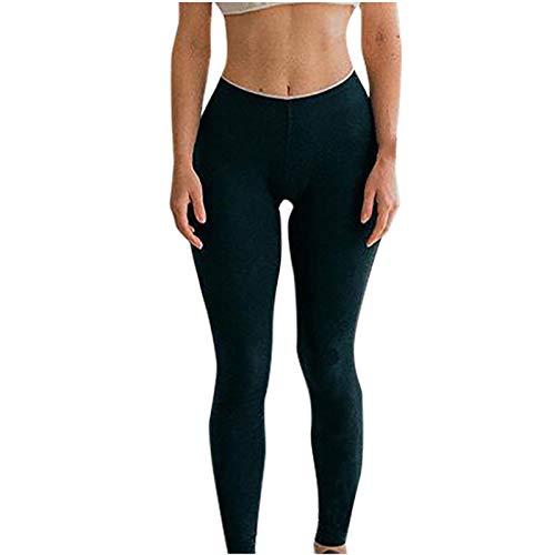 Leggings de Entrenamiento de Cintura Alta para Mujer Casual Pantalones de Yoga Que Adelgazan los Pantalones de Yoga de elevación de Cadera de Las Medias acanaladas para Correr