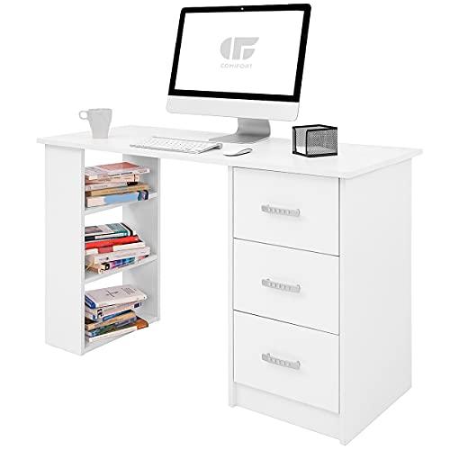 COMIFORT Escritorio Blanco Ordenador Pequeño | Cajones y Estantes, Mesa de Oficina Escritorios Juveniles para el Ordenador o Mesa de Despacho, 120x49x72 cm, Escritorio de Color Blanco
