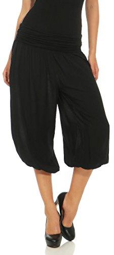 Malito Mujer Pantalón Bombacho Aladino Harem Pantalón Yoga Uni 1483 (Negro)