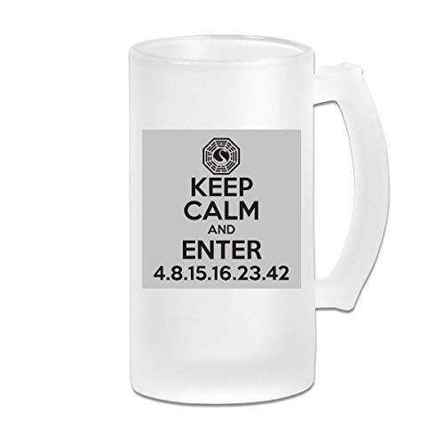 DJNGN Taza impresa de la taza de Stein de la cerveza del vidrio esmerilado de 16 oz Printed 16oz Frosted Glass Beer Stein Mug Cup Keep Calm And Enter Dharma Initiative Lost Dark Graphic Mug