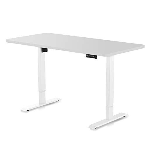 DESQUP® Elektrisch höhenverstellbarer Schreibtisch | +140x70 cm Tischplatte | 5 Jahre Garantie | Ergonomischer Steh-Sitz Tisch mit Memory Funktion | Beugt Rückenschmerzen vor (Weiß, Weiß)