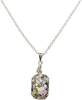 Aga Sequin Embellished Octagonal Shaped Handmade Resin Pendant Sterling Silver Necklace for Women - Multi Color