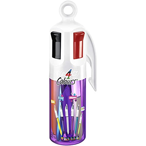 BIC 4 Colori Penne a Sfera a Scatto, Punta Media (1.00 mm), Barattolo Viola da 6 Penne Assortite, Confezione Regalo
