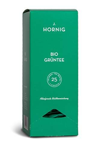 J. Hornig Bio Grüntee, Tee im biologisch abbaubaren Pyramidenbeutel, 25 Tee-Sachets, Grüner Tee Bio