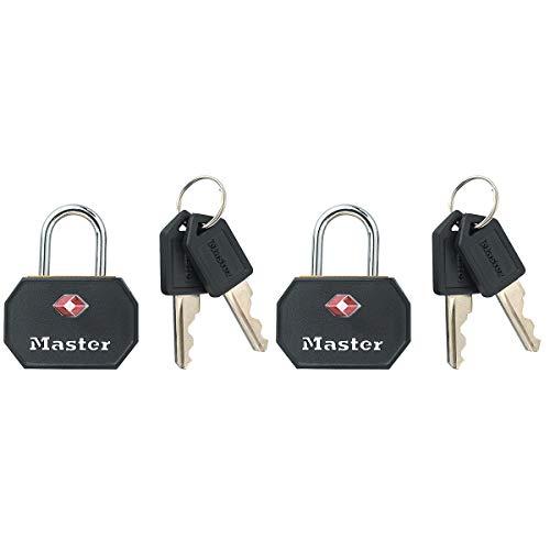 Master Lock 4681EURTBLK Envase da 2 Candados para Equipaje Aprobado por la TSA con Llaves, Negro, 4 x 3 x 2,2 c