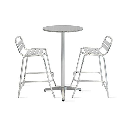 Oviala Table de Bar et 2 tabourets Gris Rond 60 x 110 cm Aluminium 2 Places Soho