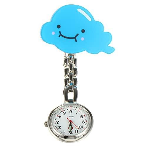 PartyKindom Reloj de Enfermera Retráctil Portátil Luminoso Reloj de Bolsillo Clip- On Reloj para Estudiante Médico (Azul)