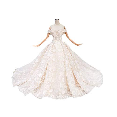 Zbigailr Slim-Fit handverzierte Spitze Brautkleid, luxuriöses Design Abendkleid, Kleid für Erwachsene Champagner Brautkleid Hochzeitskleid (Size : US14)