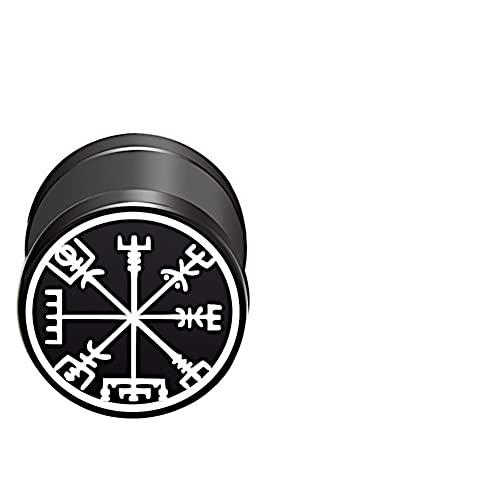 CHICNET Damen Herren Fake Plug Piercing Ohrstecker Ohrring aus Edelstahl in schwarz Silber, Schraubverschluss, 10mm rund, 6mm lang, 1.2mm Stift, Viking Celtic Nordic Vegvisir