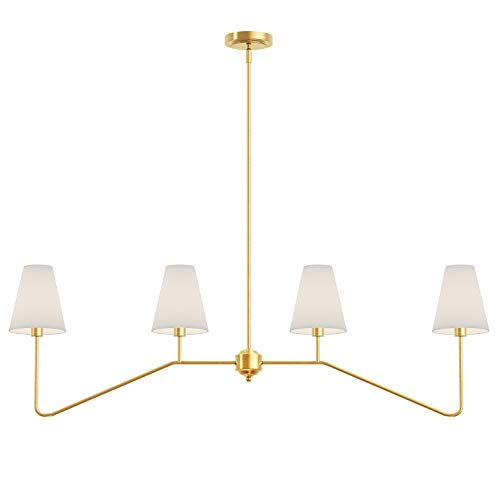 Electro bp;47'W 4-Light Linear Kitchen Island Lighting Fixture Classic Chandeliers Polished Gold with White Linen Shades 160W