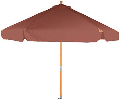 Royal Gardineer Balkon Sonnenschirm: Neigbarer Sonnenschirm mit Holzgestell, UV-Schutz 50+, Ø 3 m, Taupe (Sonnenschirme Holz knickbar)