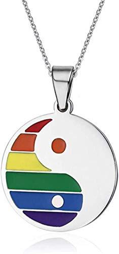 Yiffshunl Collar de Moda Arco Iris LGBT Orgullo Gay Mapa tabloide Collares de Acero Inoxidable Colgantes Amante Pareja Mujer Collar Hombres Joyería Collar de Moda