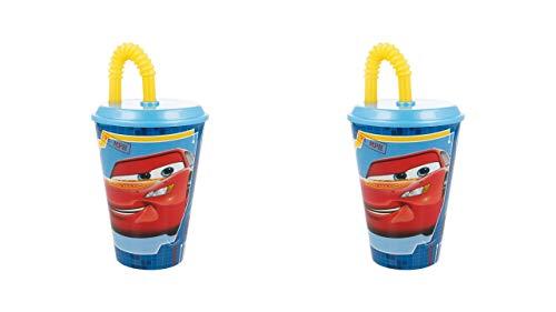 2522; Pak 2 glazen met wandelstok Easy Disney Cars RAce Ready, capaciteit 430 ml; plastic product; GEEN BPA