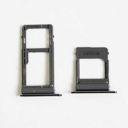 jbTec SD-Card/SIM-Tray/Halter passend für Samsung Galaxy A5/A7 2017 Dual SIM - Slot Karte Schlitten Rahmen Holder Handy, Farbe:Schwarz