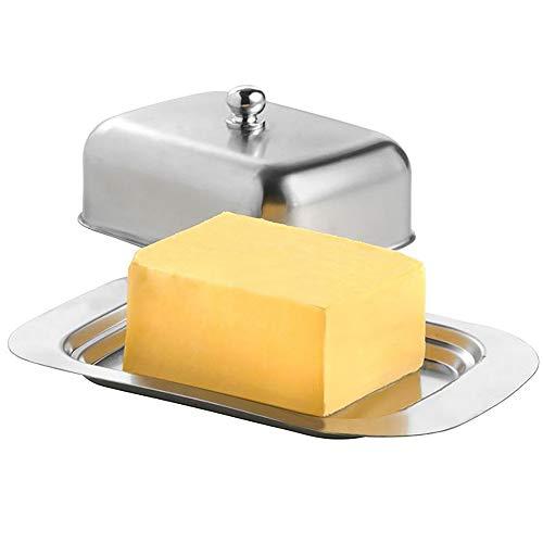 SUNJULY Butterdosen mit Deckel, Butterdose Edelstahl Praktischer Frischhaltebutterbehälter 18 * 12 * 7cm / 7 * 5 * 3inch