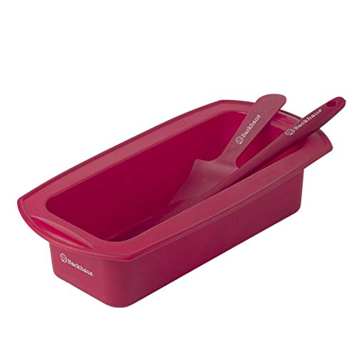 Backhaus ® Stampo per Plumcake, Teglie da Forno Rettangolare in Silicone Platino Antiaderente di qualità Professionale con Spatola e Torta Pala, ∅23cm, Rosso