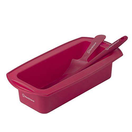 BACKHAUS Brotbackform mit Teigschaber und Kuchenmesser, Antihaft-Kastenform aus Platinum Silikon | Medium - Rot