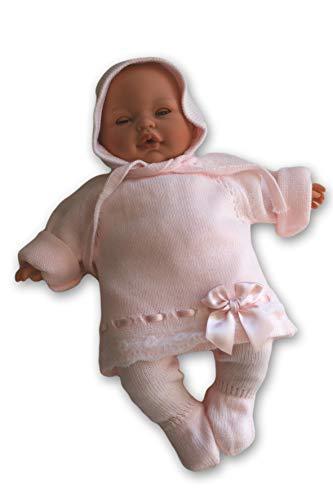 TextiVera conjuntos bebé para recién nacido (0/1/3 meses) de punto con gorro mono (rosa, 3 meses)
