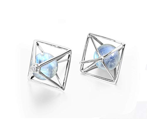 Moonstone earrings by Majade. June birthstone jewellery, moonstone white blue earrings. Handmade solid 14k white gold earrings with moonstone and diamond. Rainbow 3D geometric pyramid stud earrings