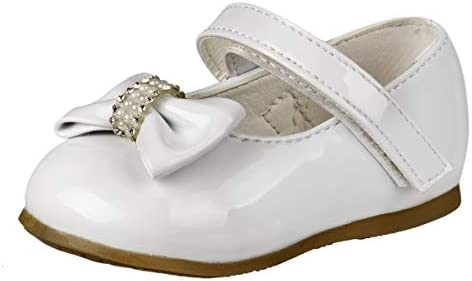 Josmo Baby Girls Mary Jane Dress Shoes with Flower Decorations Infant Toddler White Bow Size product image
