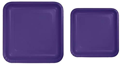 100 Count Square Purple Paper Plates | 50~9' Dinner Paper Plates | 50~7' Dessert Paper Plates | Purple Party Theme