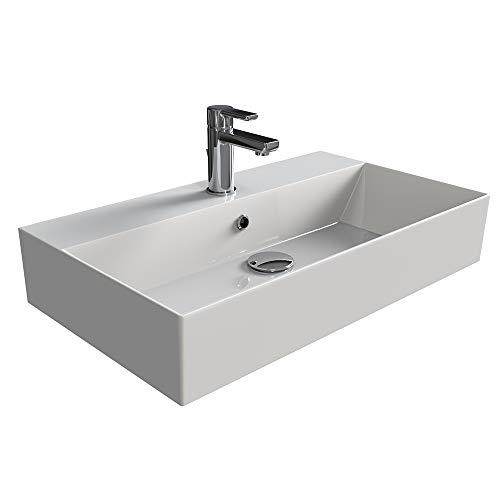Aqua Bagno | Design Waschbecken Hängewaschbecken Aufsatzwaschbecken Waschtisch aus hochwertiger Keramik eckig KS.70 | 70 x 42 cm | Weiß