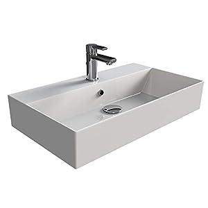 Aqua Bagno KS.70 – Lavabo de diseño (70 x 42 cm, cerámica), color blanco