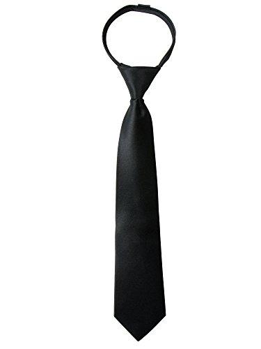 Spring Notion Boys' Satin Zipper Necktie with Gift Box Black X-Small
