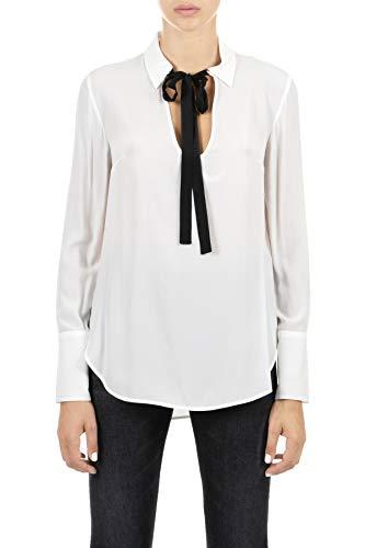 Dondup Hemd weiß mit geknotetem Kragen mit klassischem schwarzem Knoten, langärmlige Ärmel, abknöpfte Bündchen und runder Boden, Weiß 34
