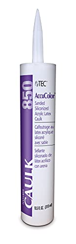 TEC AccuColor - Siliconized Sanded Acrylic Caulk - Fast-Drying and Paintable Sealant Designed to Match Other TEC Grout Colors - 10.5 OZ - 949 Silverado Color