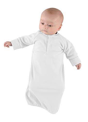 PINOCCHIO Picosleep Hemdchen lang weiß I ideale Schlafbekleidung I einfaches Wickeln I Langarm und Umschlagbündchen I 100% Baumwolle (86/92)