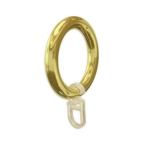 silenta Gardinenring/Vorhangring Kunststoff, Gold mit Faltenhaken, Ø56mm außen/42mm innen für Stilstangen bis Ø 28mm, 20 Stück