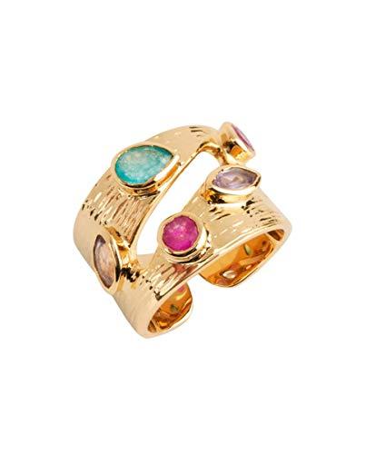 VIDAL & VIDAL Anillo Oro Ajustable Ancho Piedras Colores