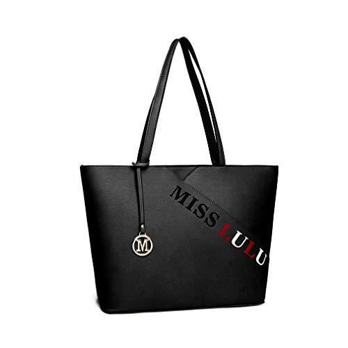 Miss Lulu Mujer Hobo Bolso Bolsos de Hombro Monedero Elegante Satchel Moda (Negro)