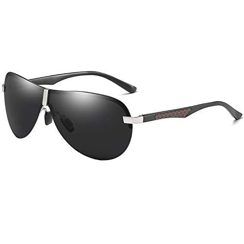 AORON Polarisierte Herren Sonnenbrille Metallrahmen Fahrer Brille Outdoor Sportarten UV400-Schutz (Silber)
