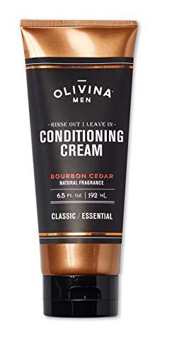 Olivina Men Rinse Out | Leave In Conditioner Cream, Bourbon Cedar, 6.5 Fluid Ounce