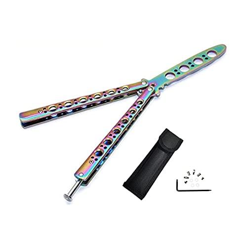 Navaja Mariposa, para Entrenamiento, para Practicar, arcoíris, Metal, de Acero, desafilado, con Funda (Color)