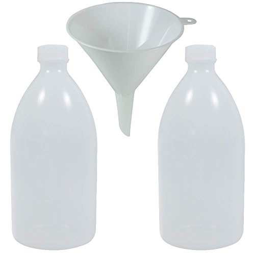 2 x Laborflasche 1 Liter aus Kunststoff (PE-LD), BPA frei - made in Germany - inkl. Trichter