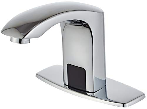 Luxice Sensor Automatic Touchless Bathroom Sink Faucet Hot & Cold Mixer Cover Plate Included Faucet,Chrome Finished