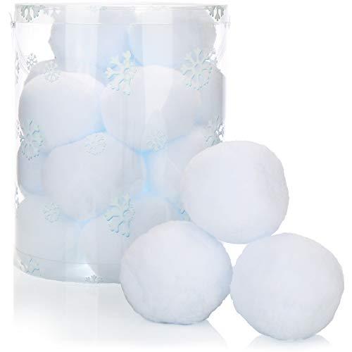 com-four® 20x Schneeball weiß, künstliche Schneebälle für Indoor-Schneeballschlachten, weiche Plüschbälle, Kunstschnee, tolle Weihnachtsdekoration, 8 cm (8cm - 20x Schneeball)